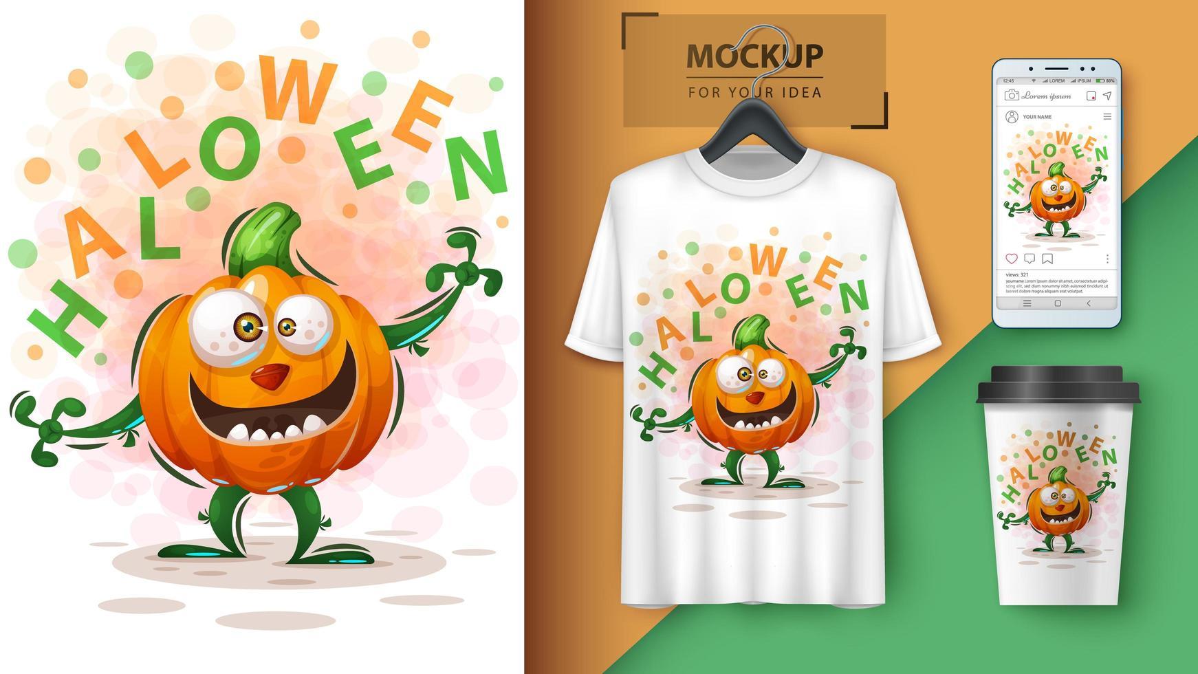 conception de citrouille de dessin animé halloween vecteur
