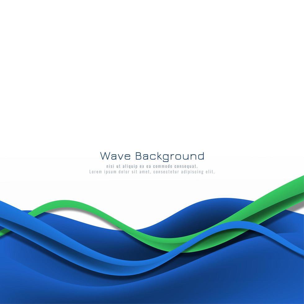 carte de cadre de vague bleu et vert vecteur