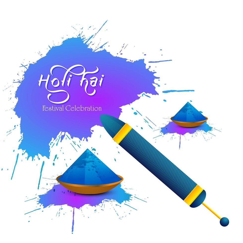 carte holi avec éclaboussures violet et bleu vecteur