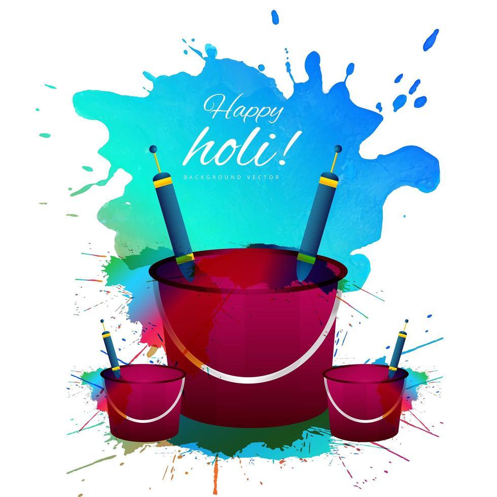 carte de joyeux holi coloré avec des seaux vecteur