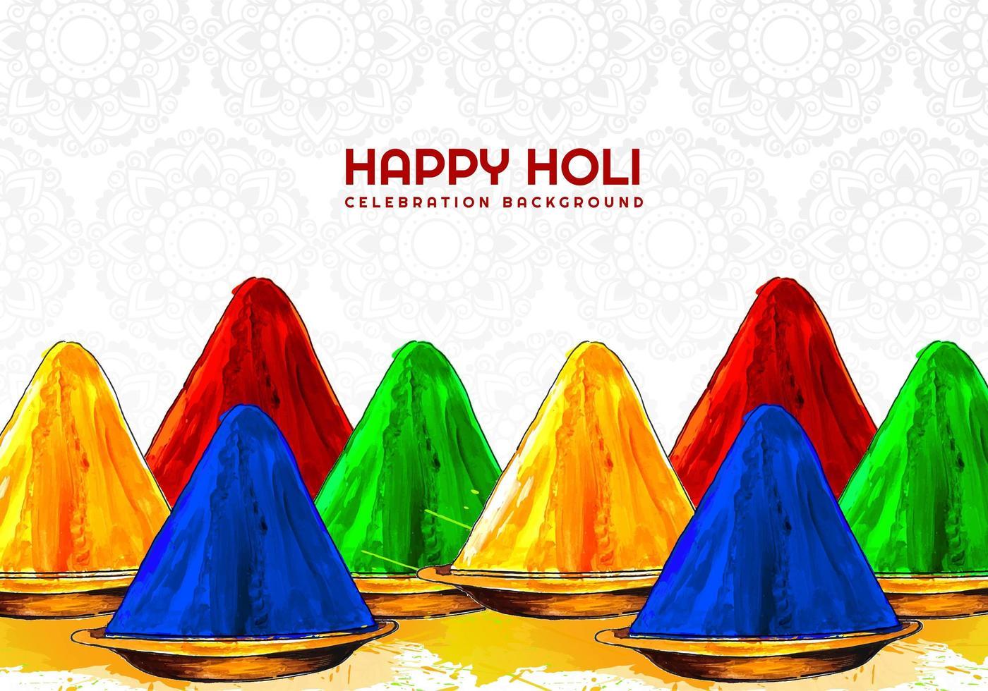 couleurs du festival holi sur fond à motifs vecteur