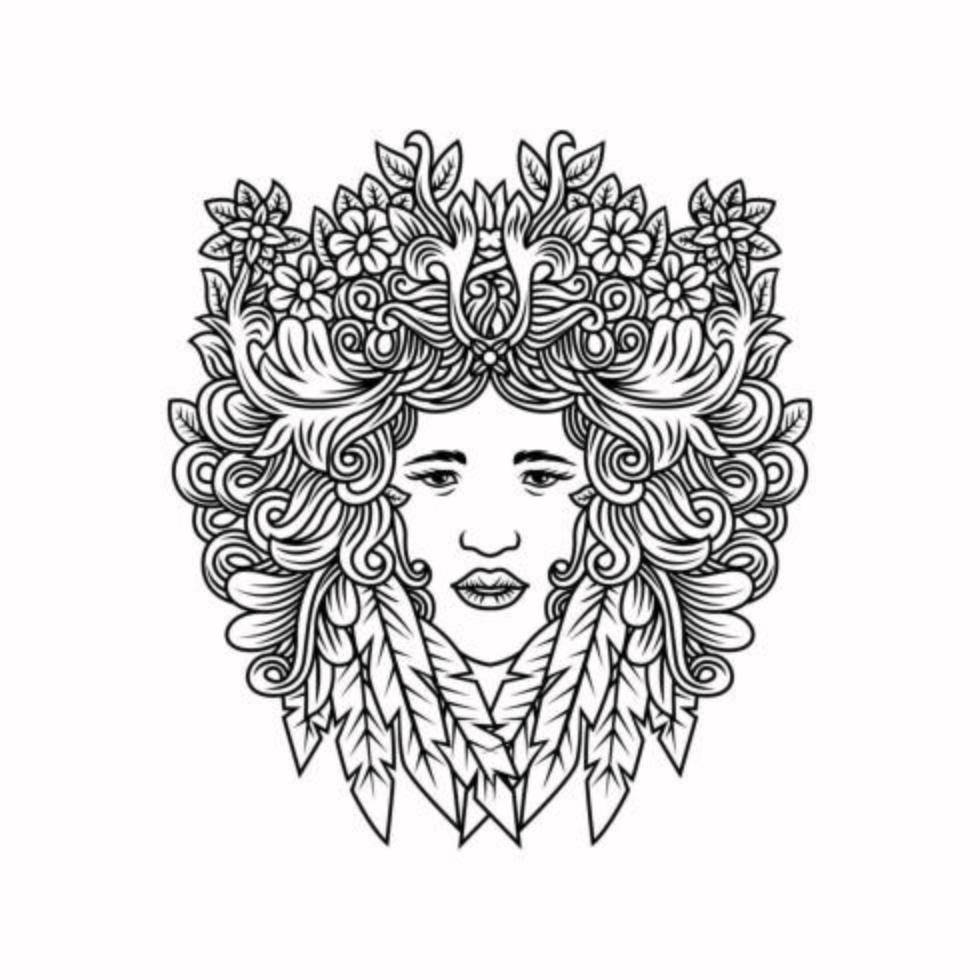 femme aux cheveux en fleurs et feuilles vecteur