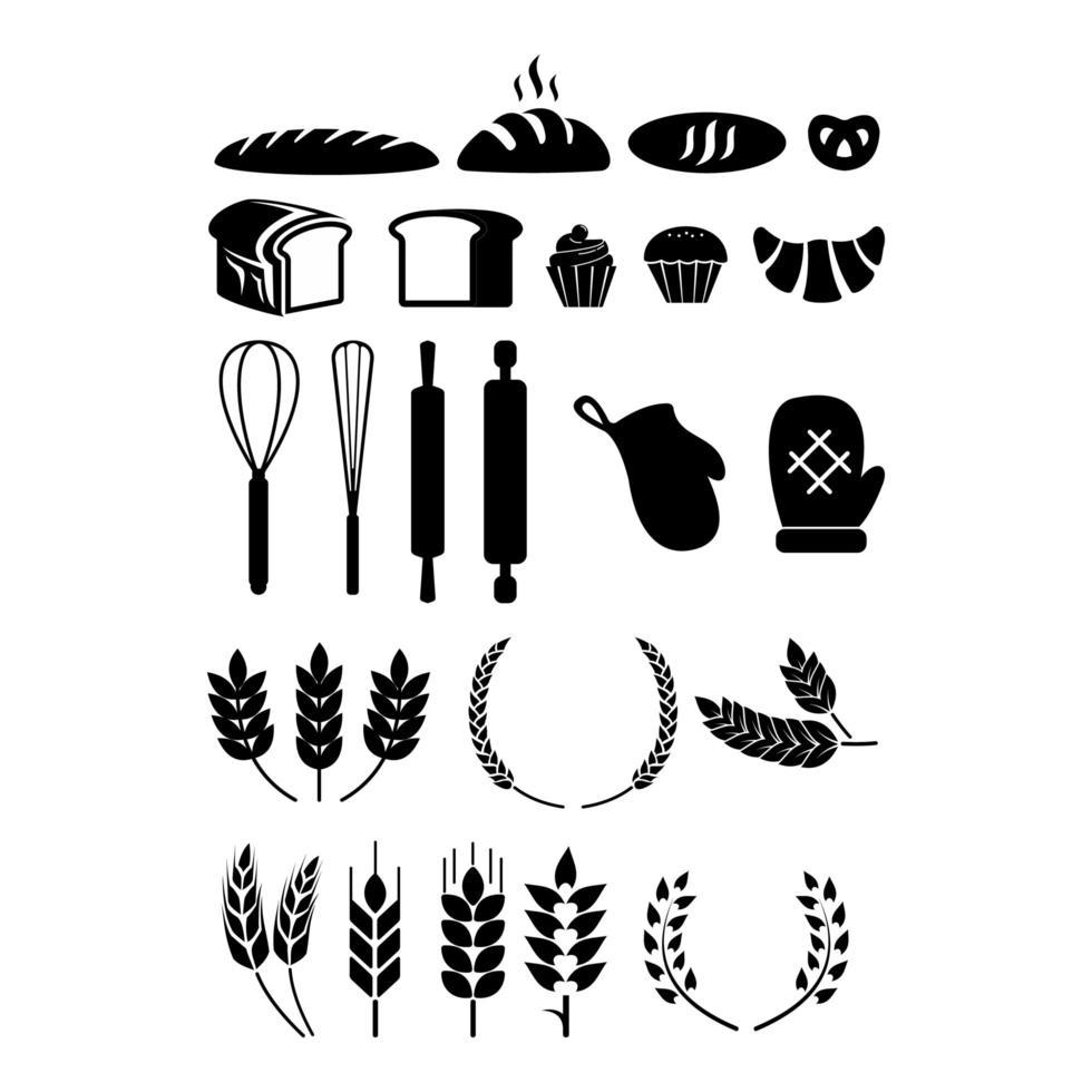 ensemble d'éléments de boulangerie vecteur