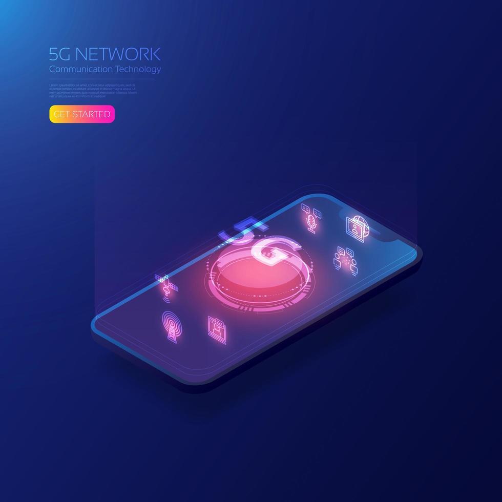 technologie numérique holographique 5g sur smartphone vecteur