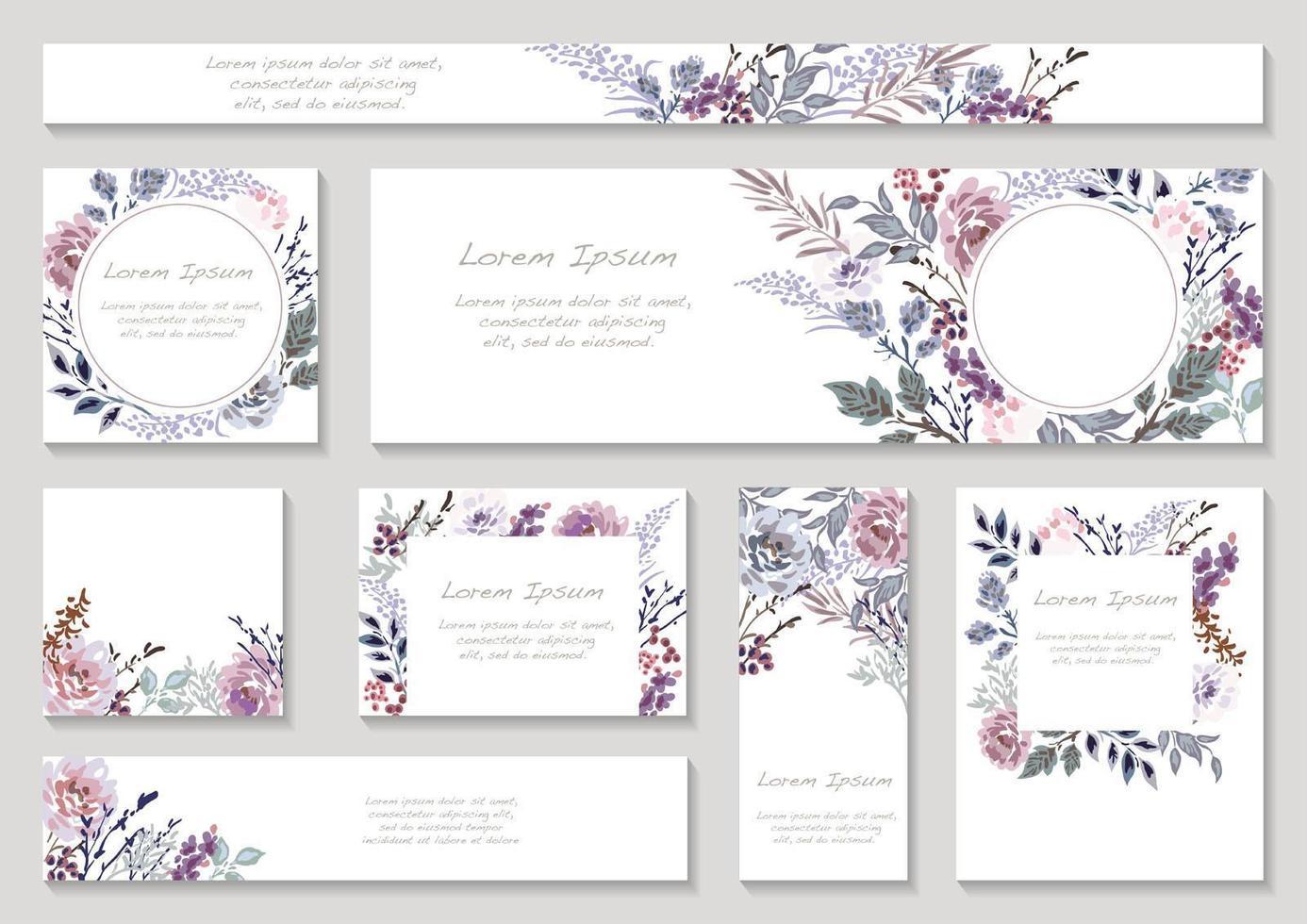 jeu de cartes florales aux tons violets avec espace de texte vecteur