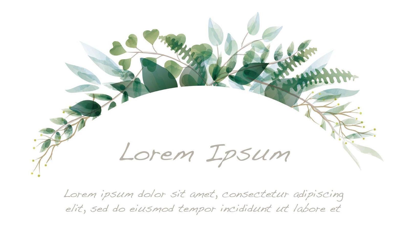 bordure d'arc botanique aquarelle vecteur