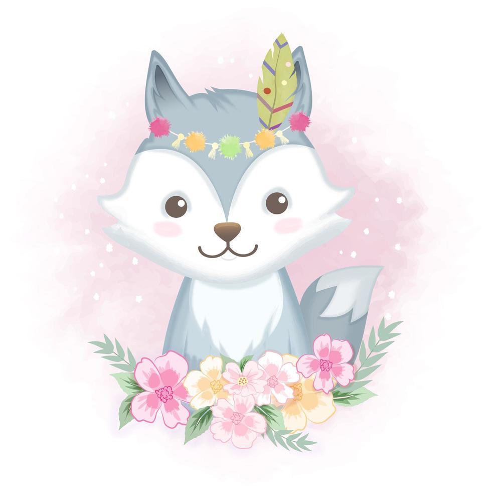 renard avec des fleurs vecteur