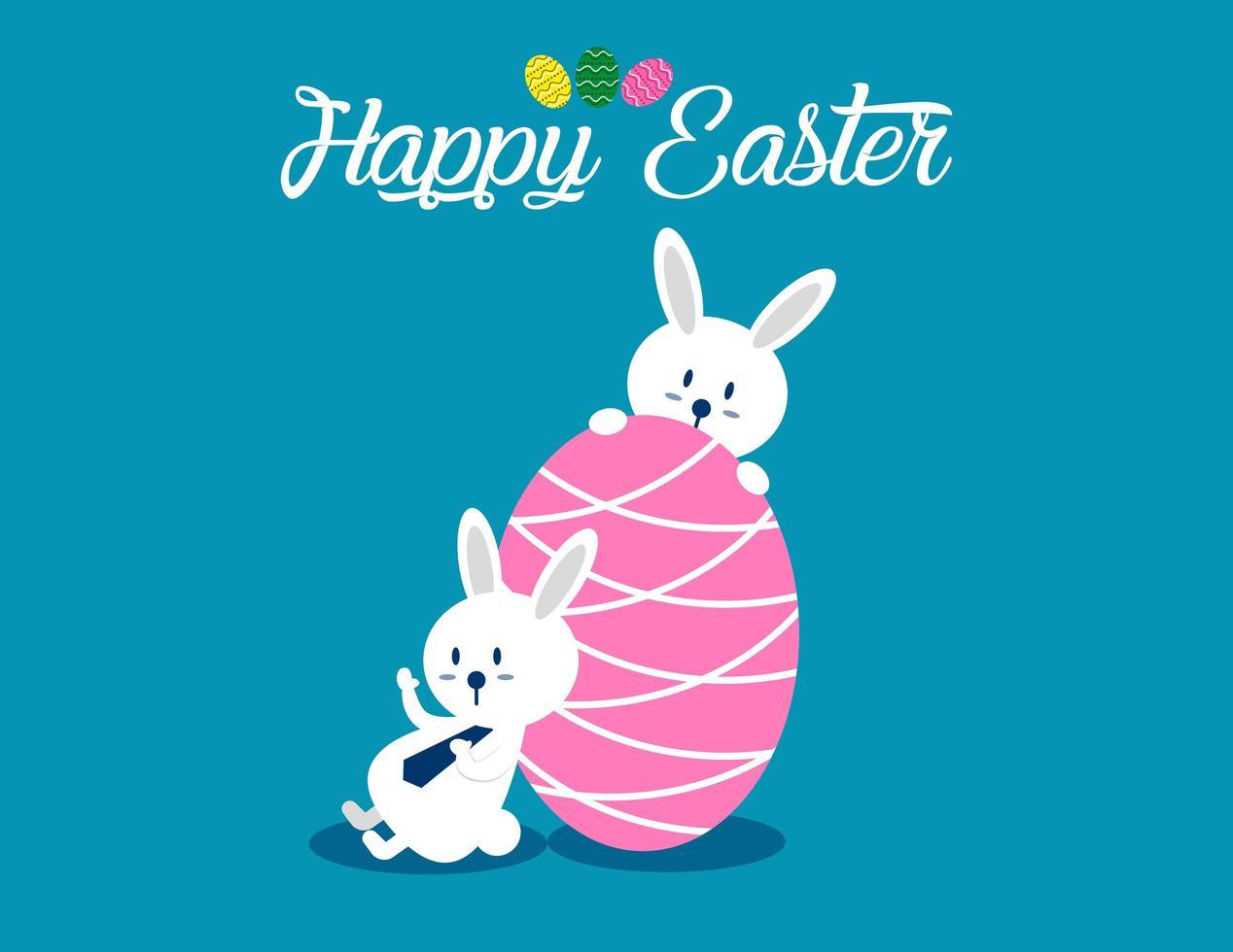 Joyeuses Pâques avec fond d'oeuf rose vecteur