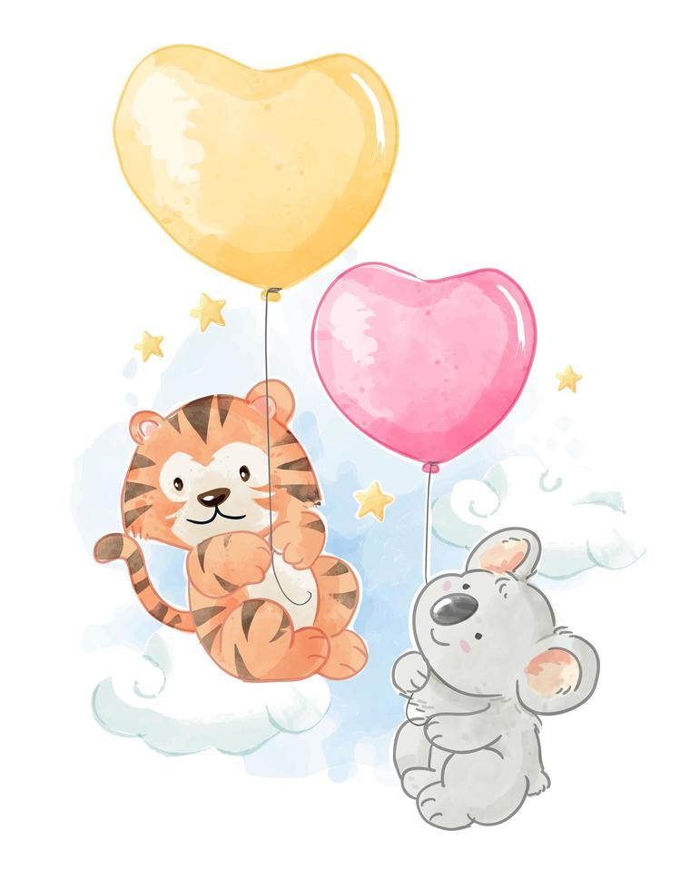 dessin animé tigre et koala avec des ballons vecteur