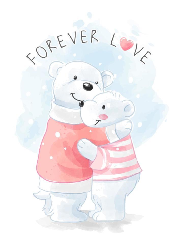 mignon, ours polaire, famille, étreindre vecteur