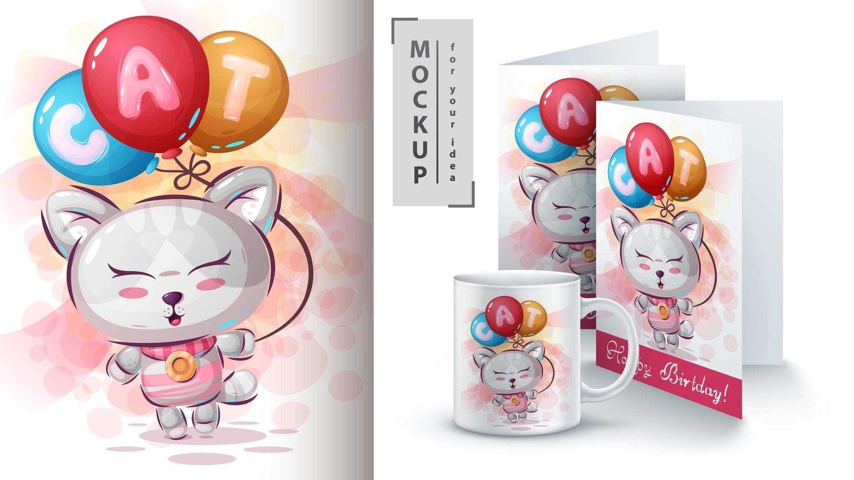 chaton avec affiche de ballon à air et merchandising vecteur