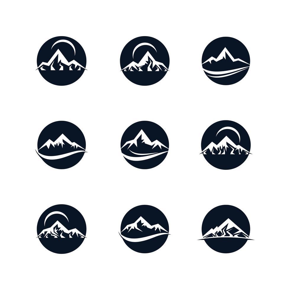 montagne dans le jeu d'icônes de cercle vecteur
