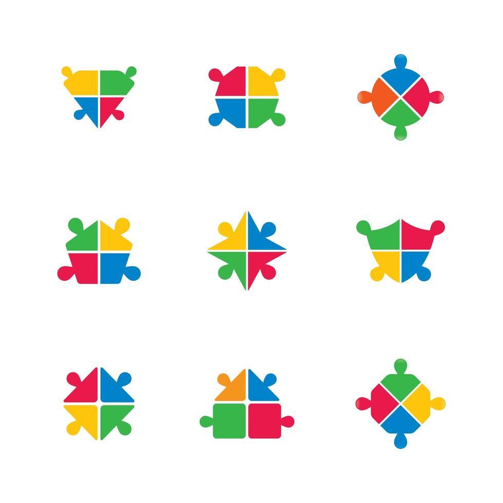 jeu d'icônes de travail d'équipe entreprise pièce de puzzle aux couleurs vives vecteur