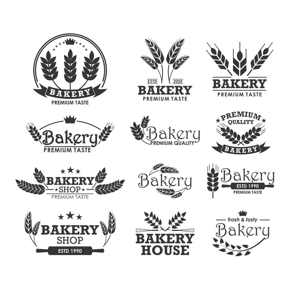 modèle de logo de boulangerie sertie de blé vecteur