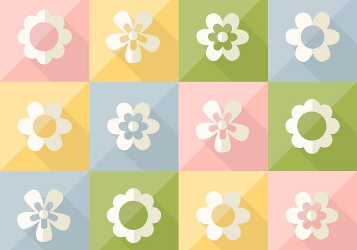 Fleurs sur le motif de vecteur coloré en pastel