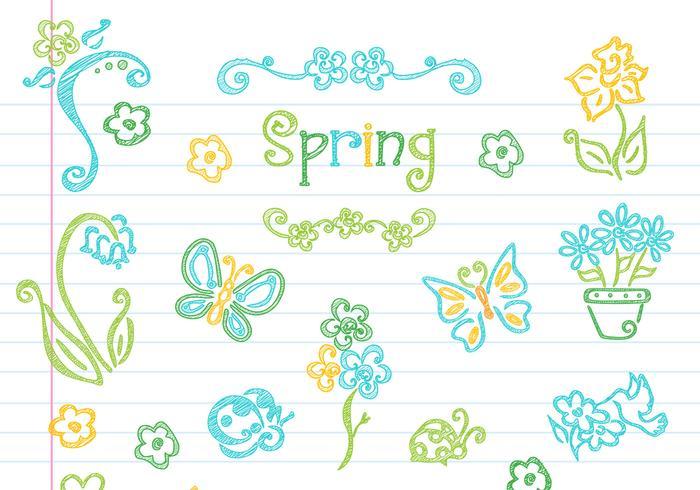 Collection vectorielle d'éléments de printemps floraux dessinés vecteur