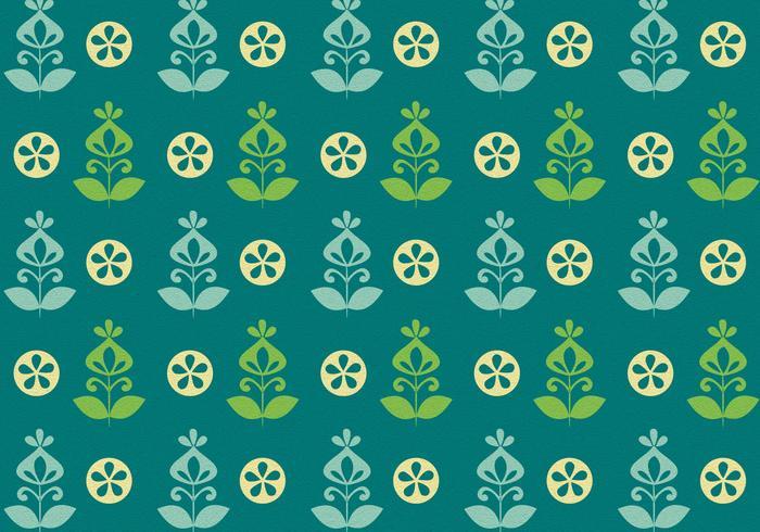 Vert Vert Rétro Modèle de fleur vecteur