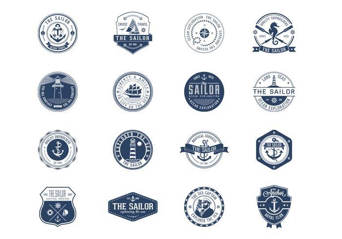 Ensemble vectoriel de badges nautiques vintage