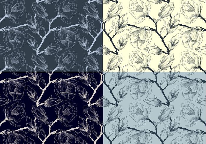 Motifs vectoriels floraux esquissés vecteur