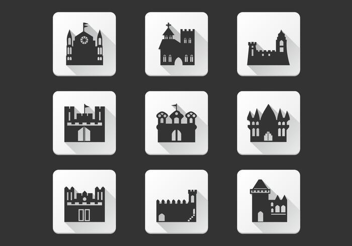 Ensemble de vecteurs d'icônes noires du château vecteur