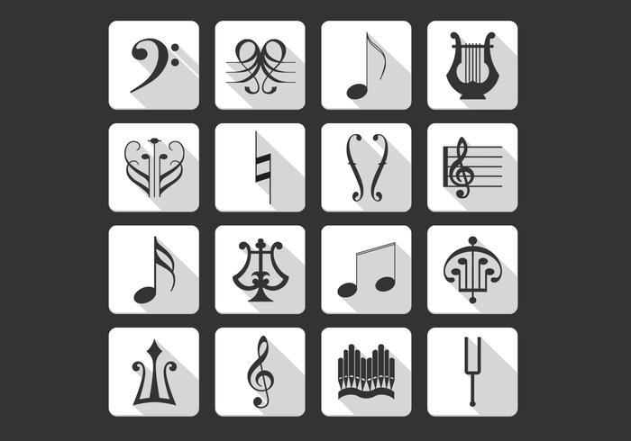 Pack de vecteur d'icônes de symboles de musique