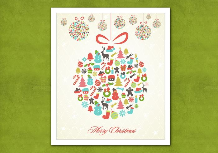 Retro Hanging Christmas Ornament Vector Background