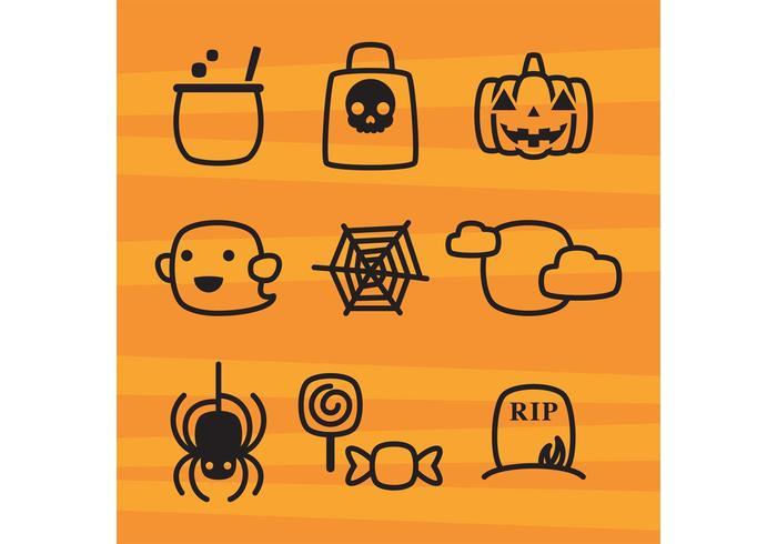 Icônes mignonnes de Halloween vecteur