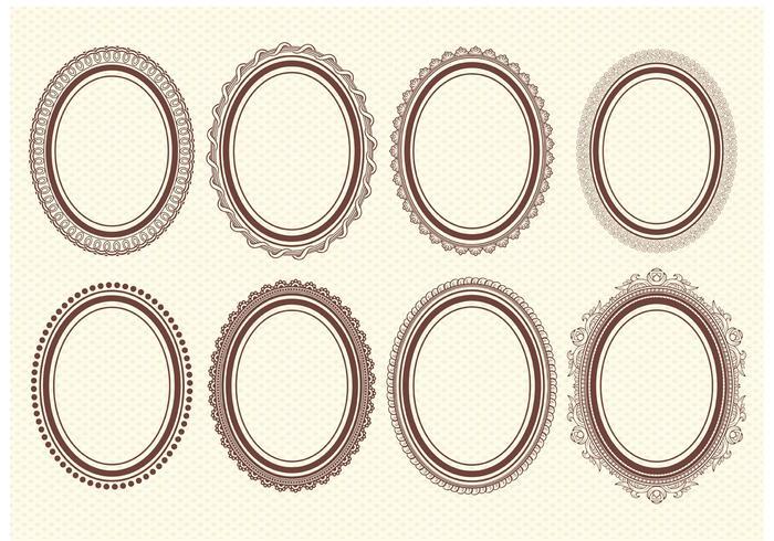 Cadres vectoriels ovales vecteur
