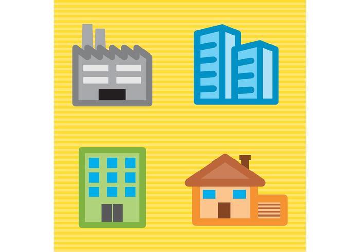 Ensemble de bâtiments vectoriels de construction vecteur
