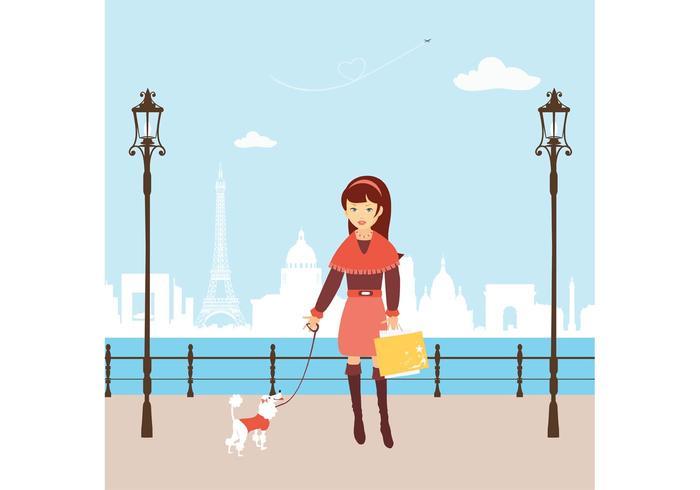 Free Shopping Shopping Girl à Paris vecteur