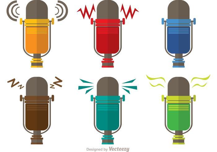 Pack rétro de microphones vecteur