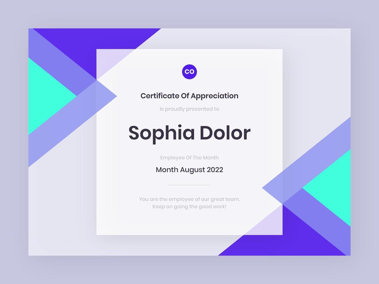 modèle de certificat violet tendance vecteur