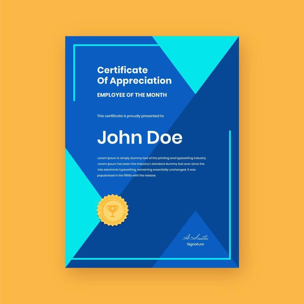 certificat d'employé géométrique du mois vecteur
