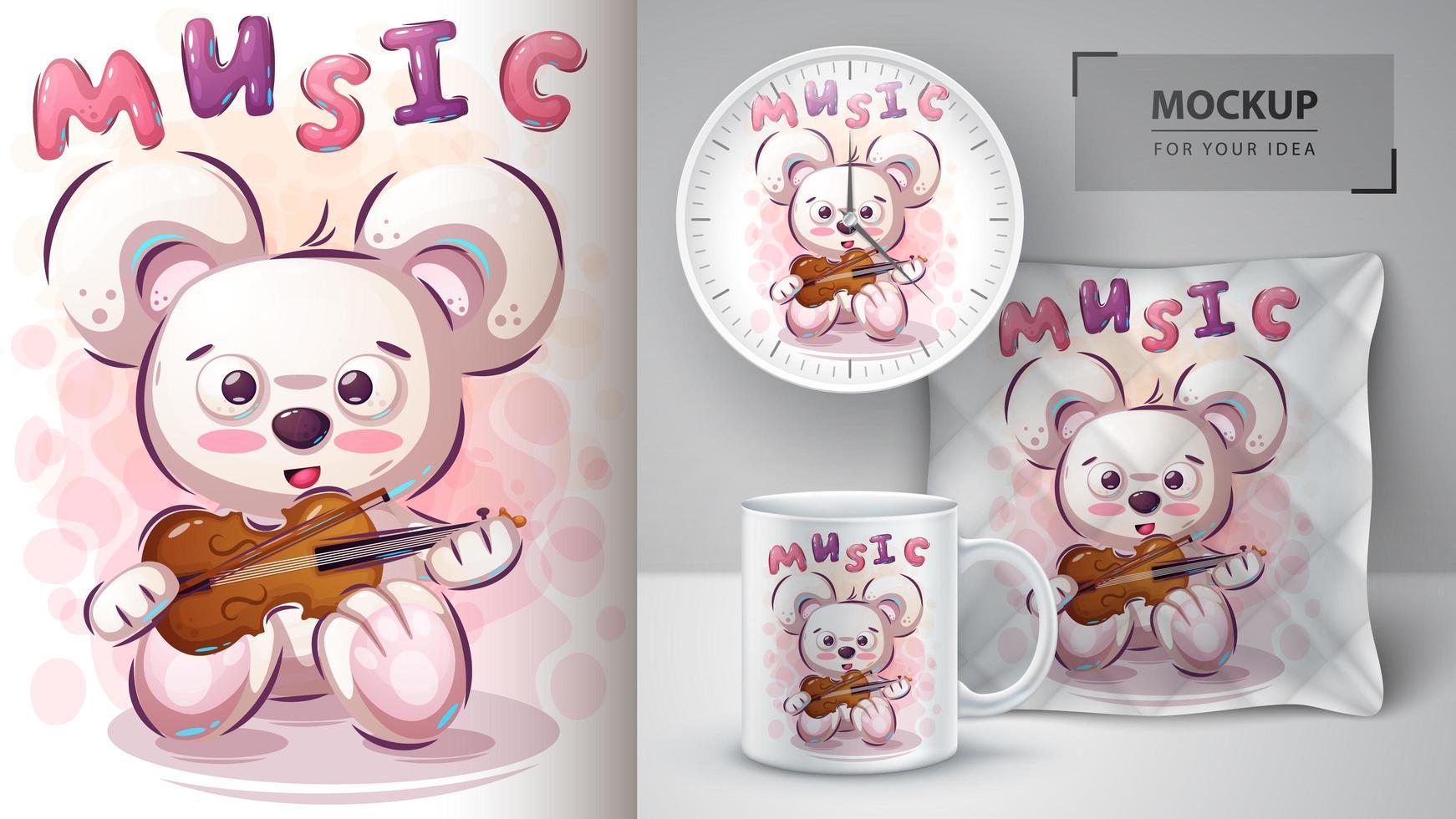 ours de musique avec affiche de violon vecteur