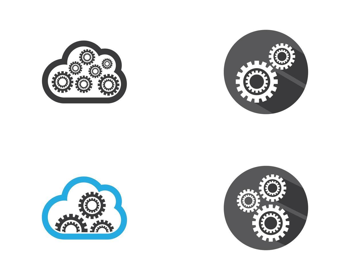 jeu de logo icône engrenage vecteur