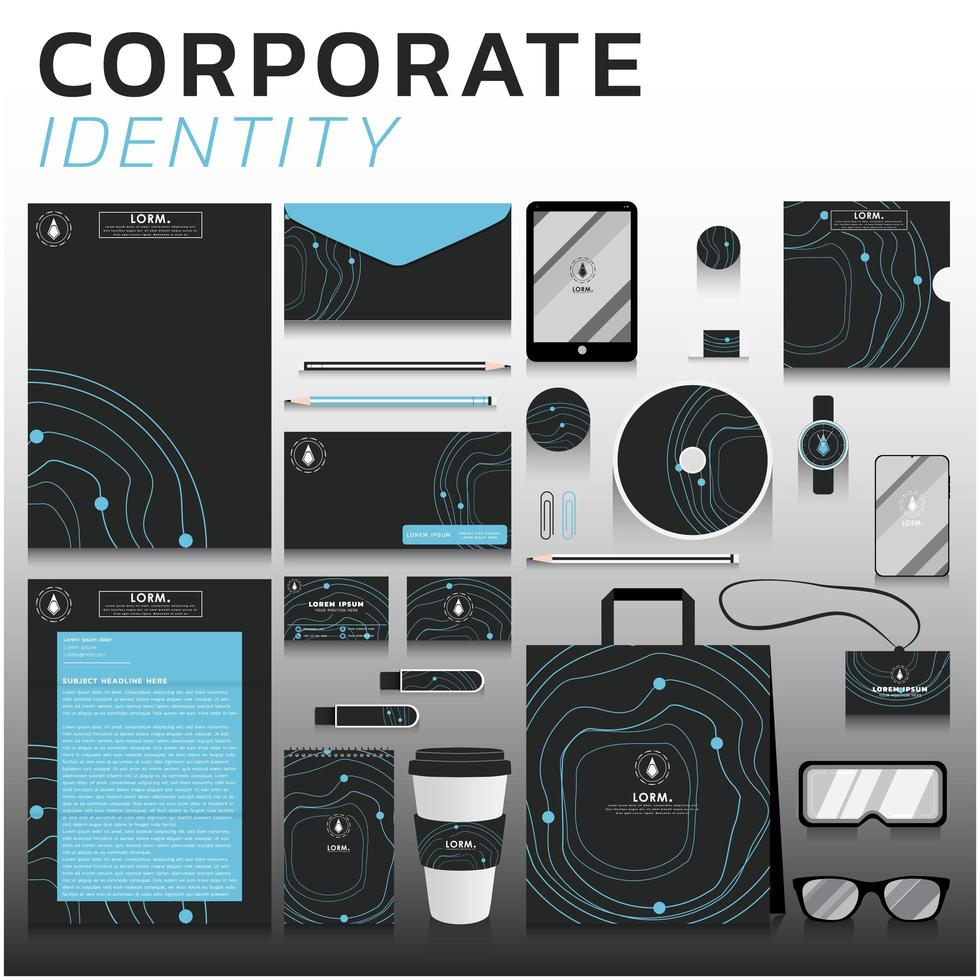 identité visuelle de la ligne bleue définie pour les entreprises et le marketing vecteur