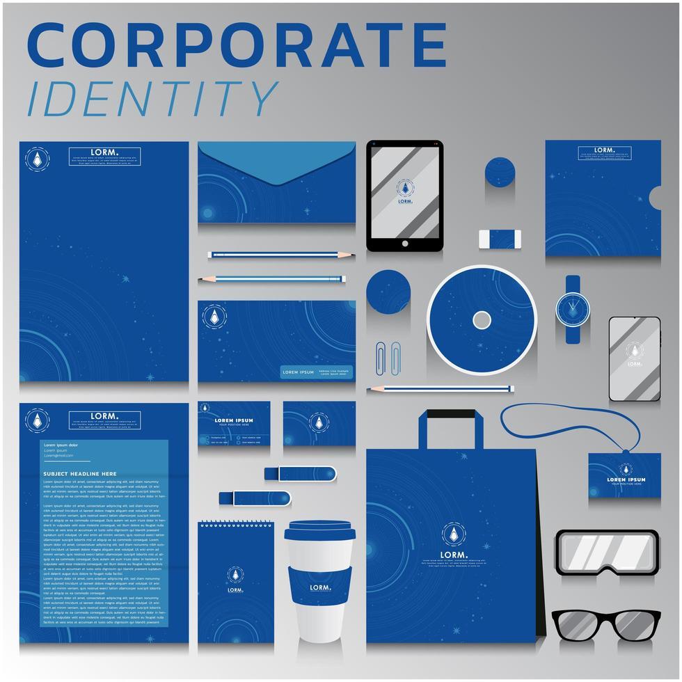 identité visuelle de conception circulaire bleue définie pour les entreprises et le marketing vecteur