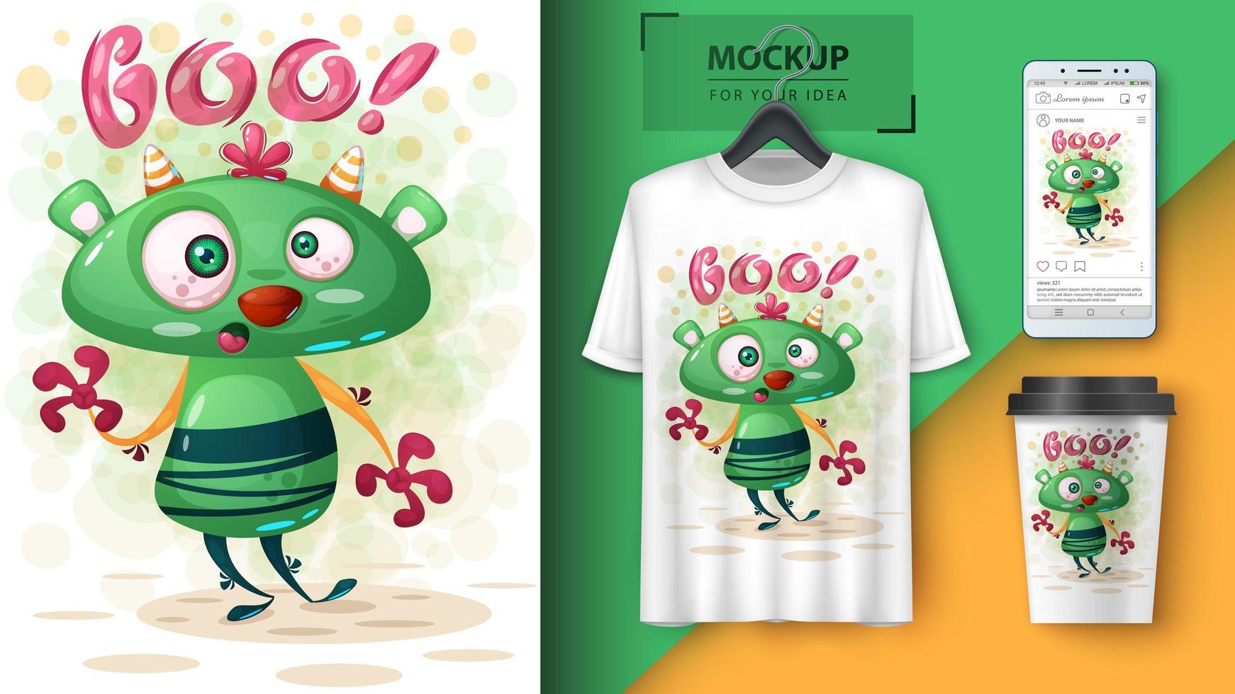 affiche de monstre boo vert fou vecteur