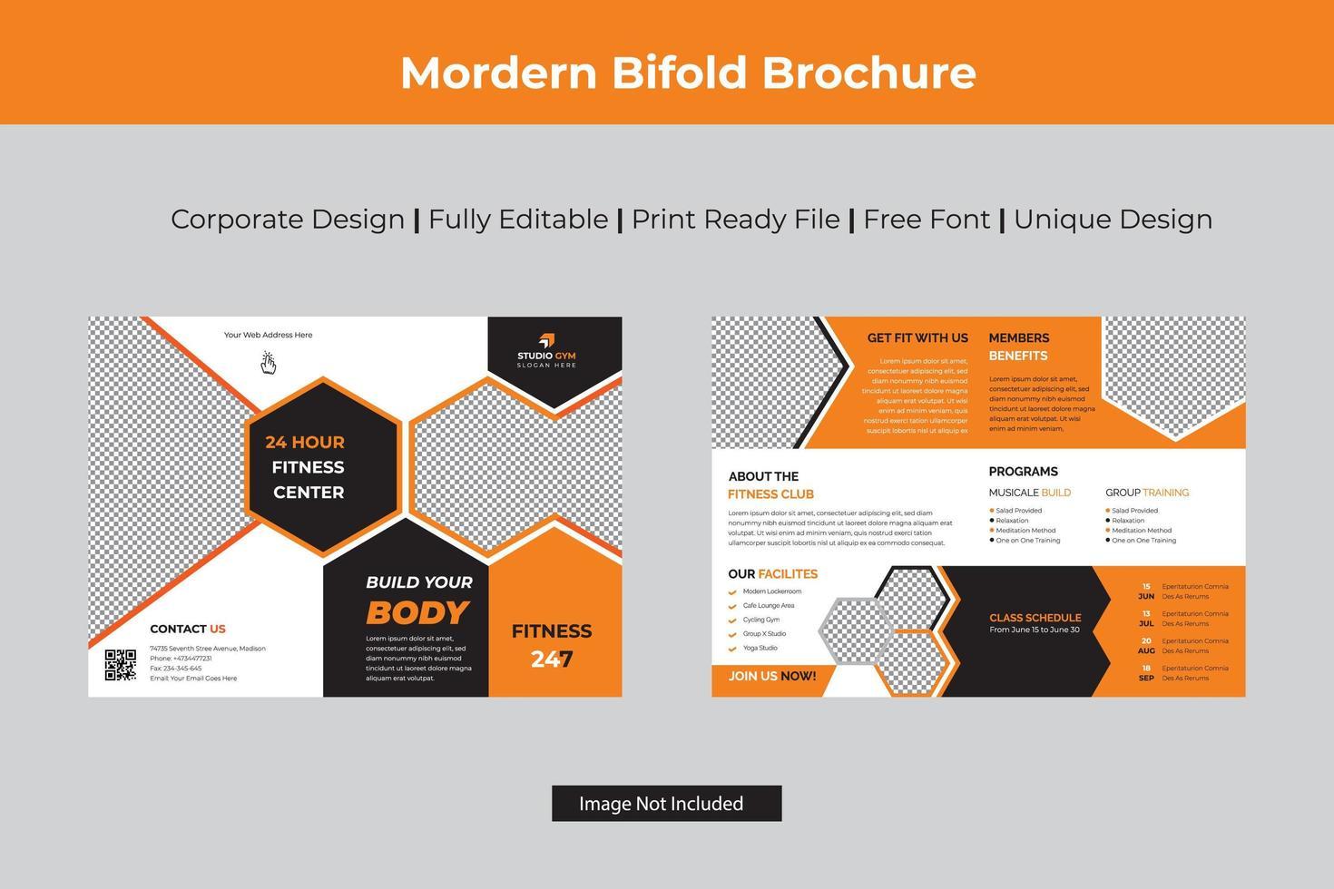 brochure orange moderne à deux volets avec hexagones vecteur