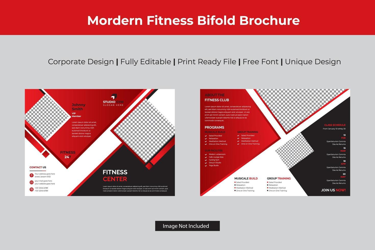 brochure pliante de fitness rouge avec détails en diamant vecteur