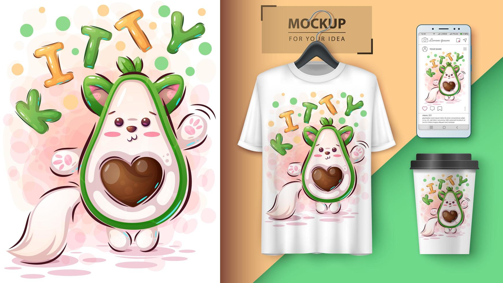 affiche et merchandising kitty avocado vecteur