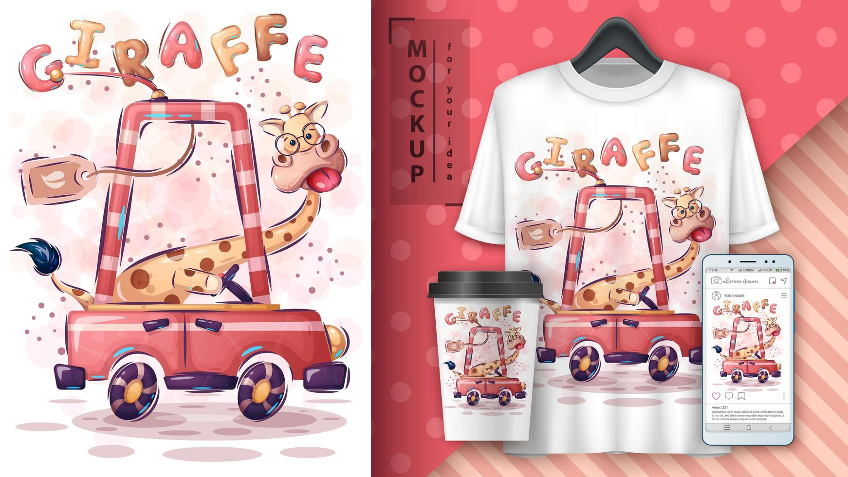girafe de dessin animé stupide en affiche de voiture vecteur