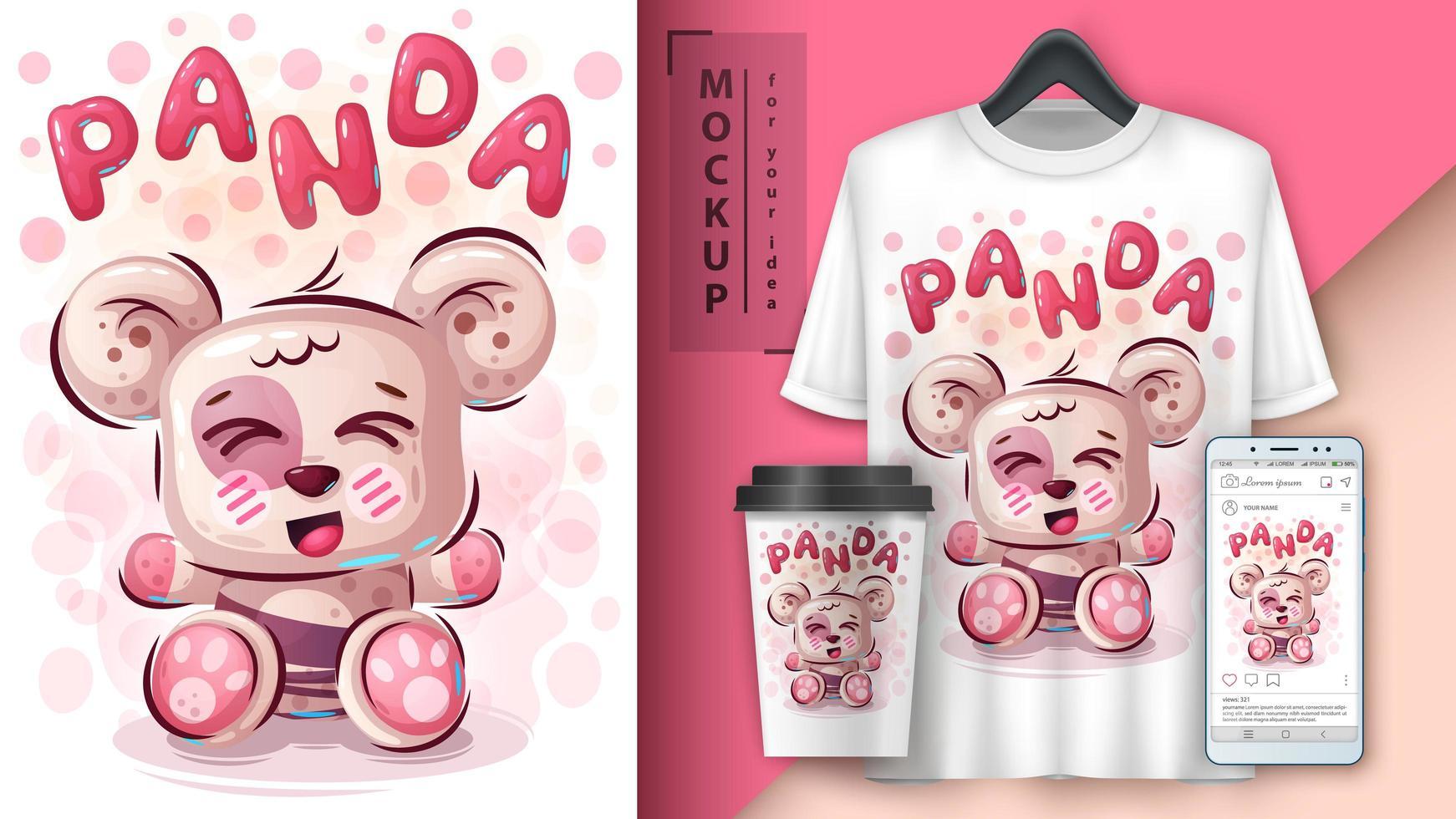 affiche et merchandising teddy panda vecteur