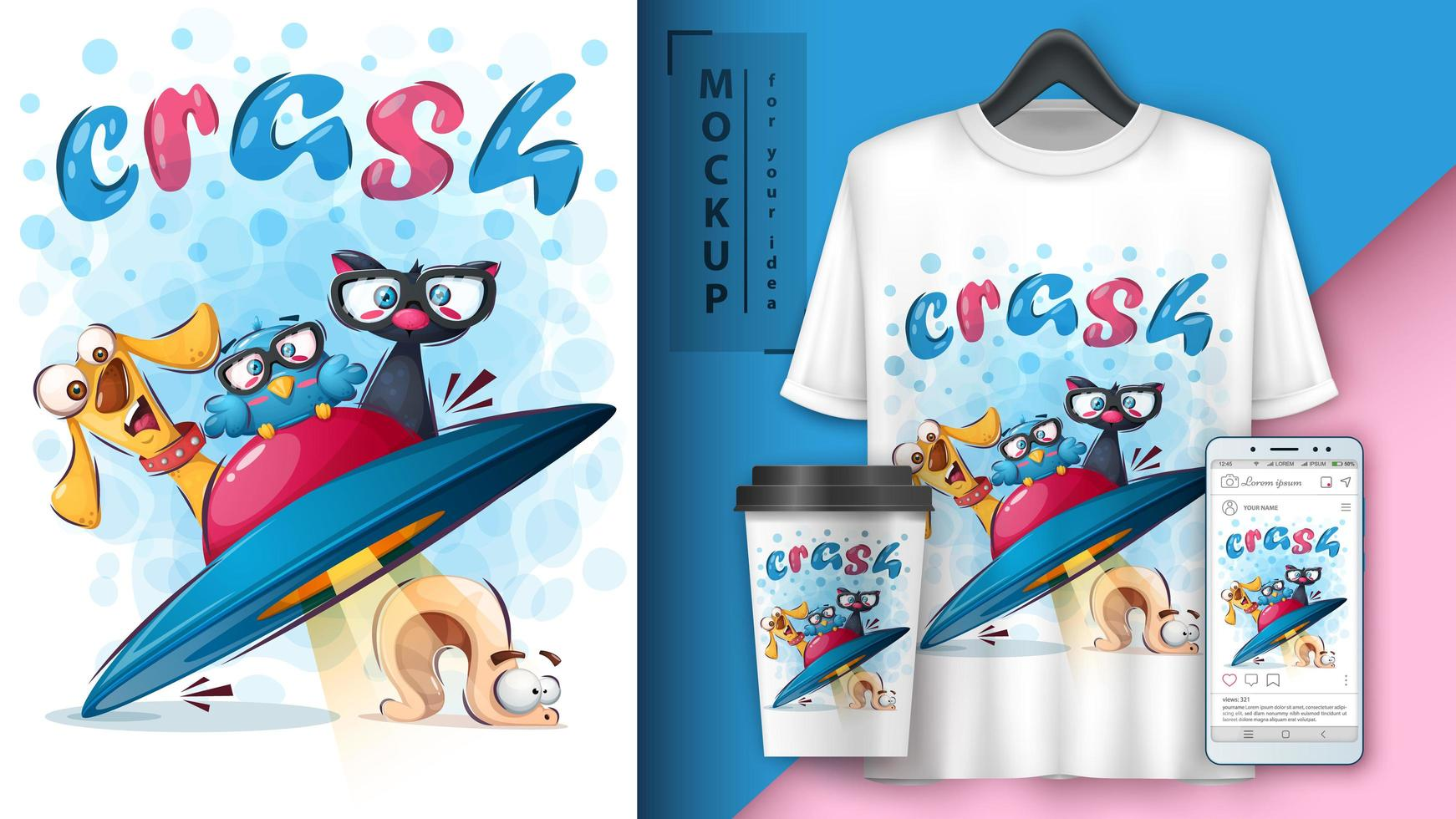 animaux de dessin animé en affiche de crash ufo vecteur