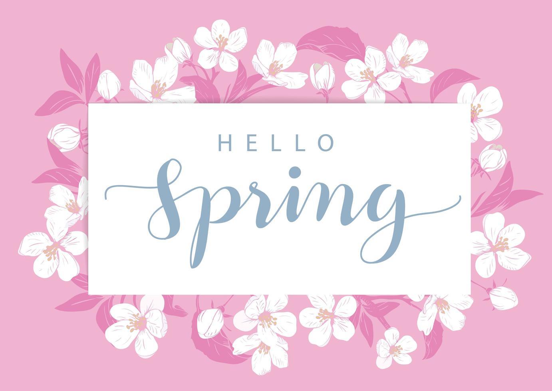 carte de printemps rose bonjour avec des fleurs vecteur