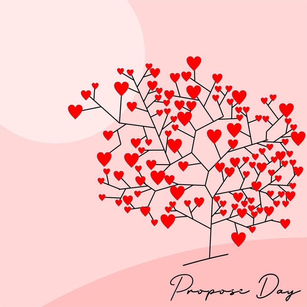 '' proposer jour '' fond d'arbre coeur vecteur