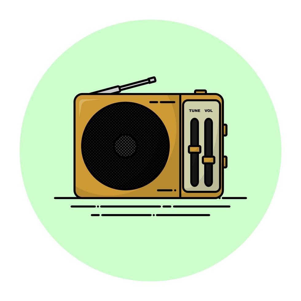 radio vintage beige vecteur