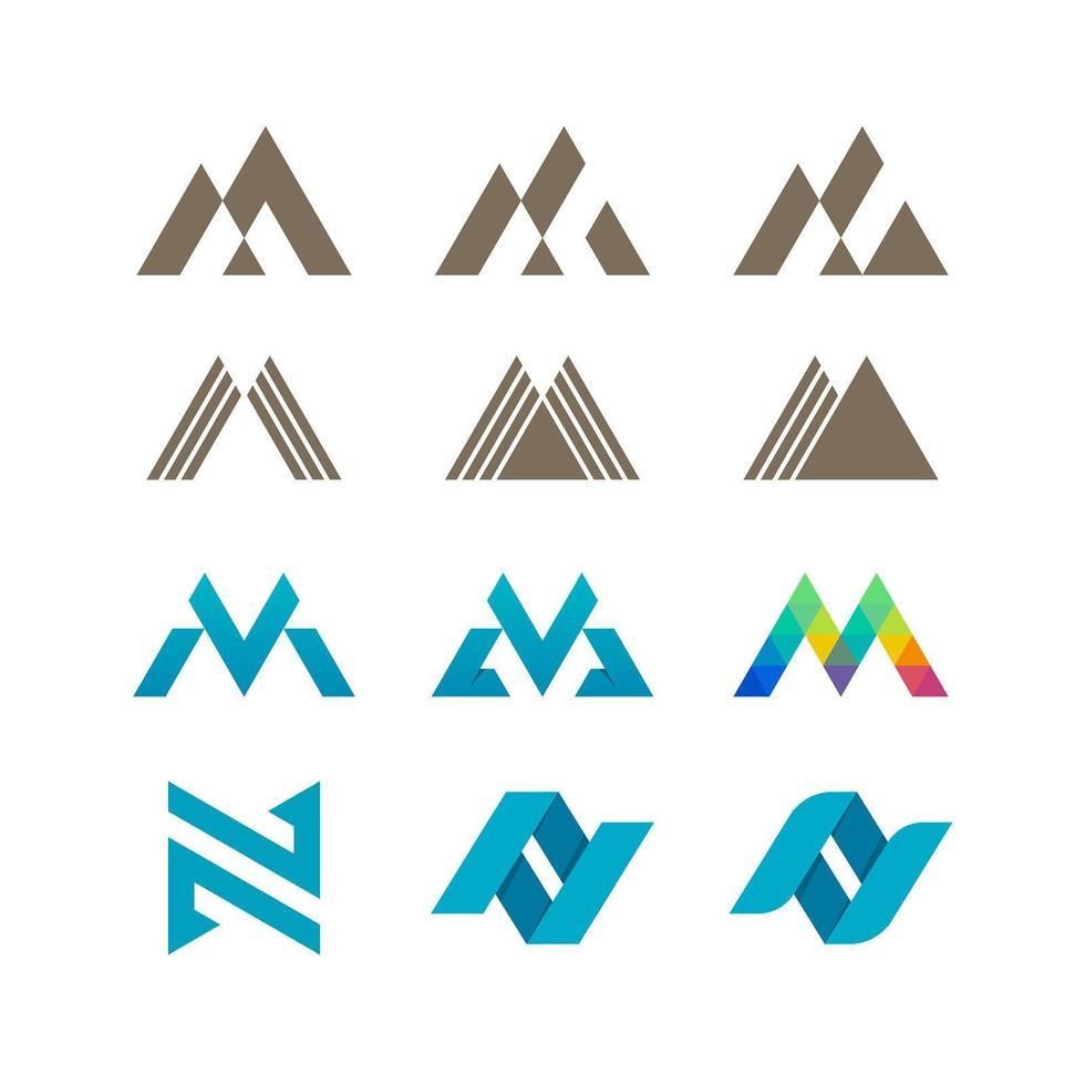 lettres m ou w et n ensemble de modèles de logo vecteur
