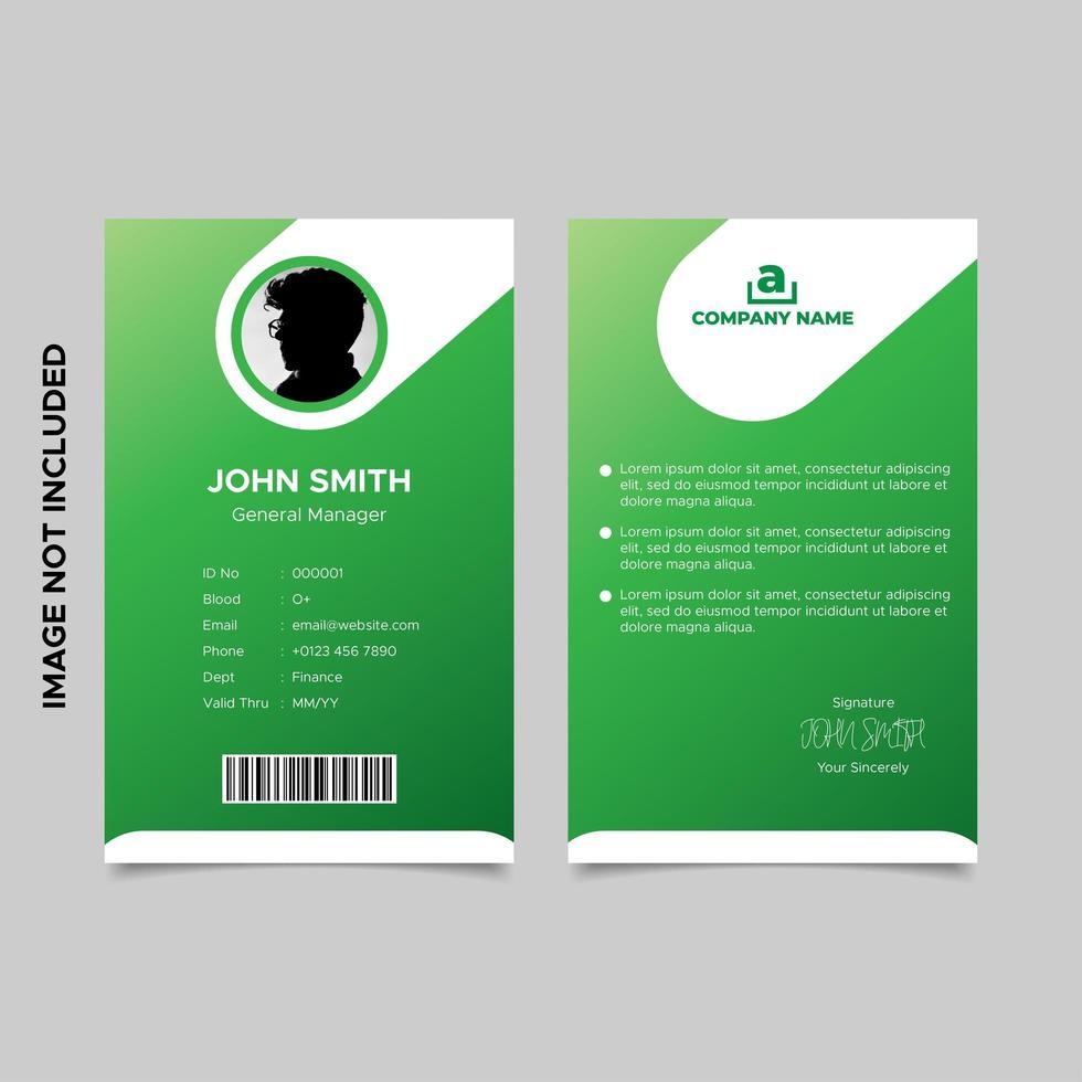 modèles de carte d'identité d'employé vert dégradé vecteur