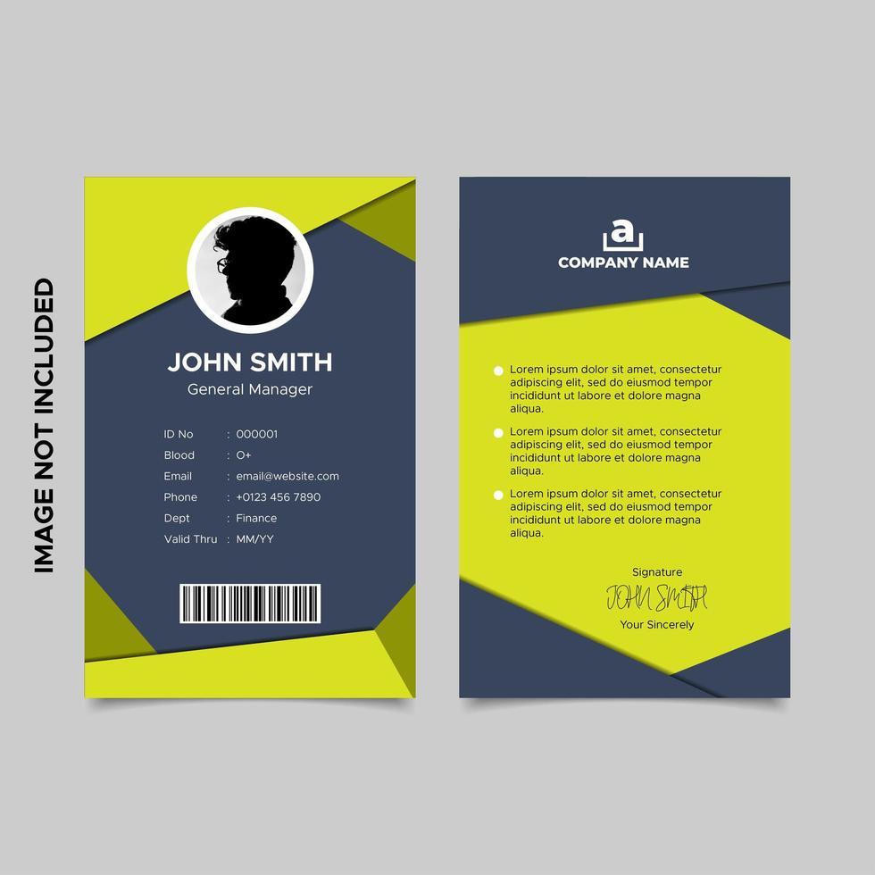 modèle de carte d'identité d'employé géométrique vecteur